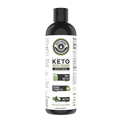 Keto Creamer with MCT Oil - 16oz / 32 Servings (Must Be Blended) - No Carb Butter Coffee Booster | Ghee Butter, Organic Coconut Oil, MCT Oil - Left Coast Performance