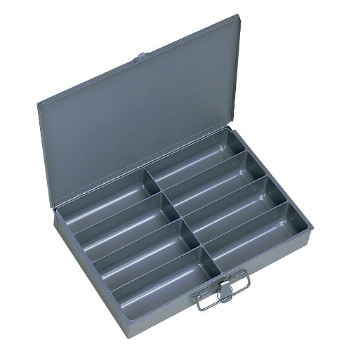 Durham 213-95-IND Gray Cold Rolled Steel Individual Small Scoop Box, 13-3/8 Width x 2 Height x 9-1/4 Depth, 8 Compartment