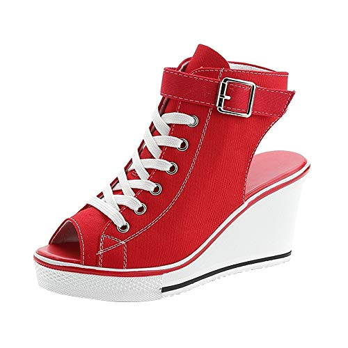 (Women's Peep Toe Canvas Wedge Heeled Platform Fashion Sneaker Pump Shoes #4 Red Label 43 - US 10)