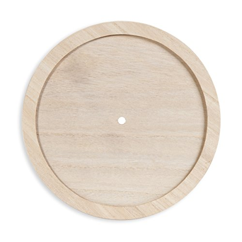 Darice DIY Unnumbered & Unfinished Wood Circle with Raised Trim Clock Face, Multicolor -