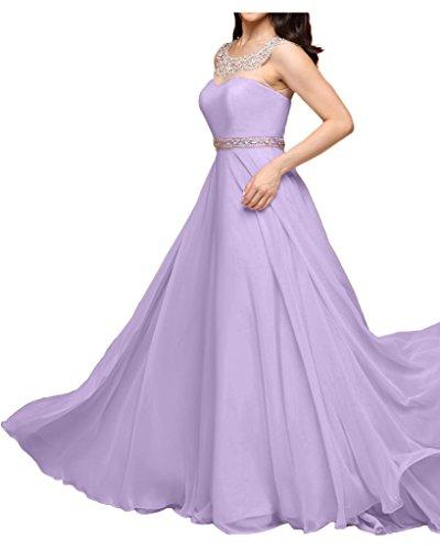 Braut Partykleider Rosa linie Chiffon Brautjungfernkleider A Abendkleider Aermellos Bodenlang Flieder La mia 5wYp77