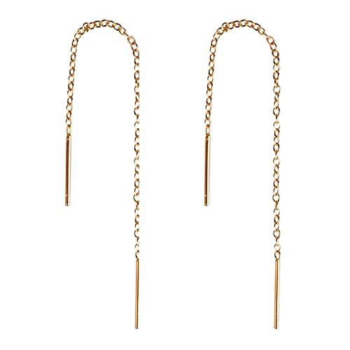 Mothers Day Gifts Dangle Earrings Long Slide Thru Tassel Threader Drop Earring for Women Teen Girls 18k Rose Gold Plated (rose gold 2)