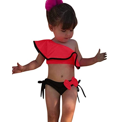 TEVEQ Summer Kids Baby Girls Swimsuit Solid Print Ruffles Bow Swimwear Bikini Outfits Red