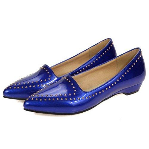 Chfso Womens Casual Klinknagels Puntschoen Flats Pull Op Pumps Schoenen Blauw