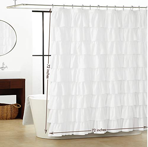 Smocking Ruffle Shower Curtain with Hooks for Bathroom 72 x 72 Inches Texture Fashion Microfiber - Shower Curtain Ruffle