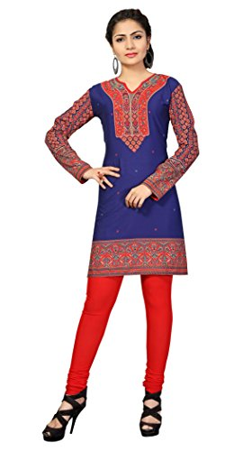 Indian Tunic Top Womens Kurti Printed Blouse India Clothing – Large, L 116