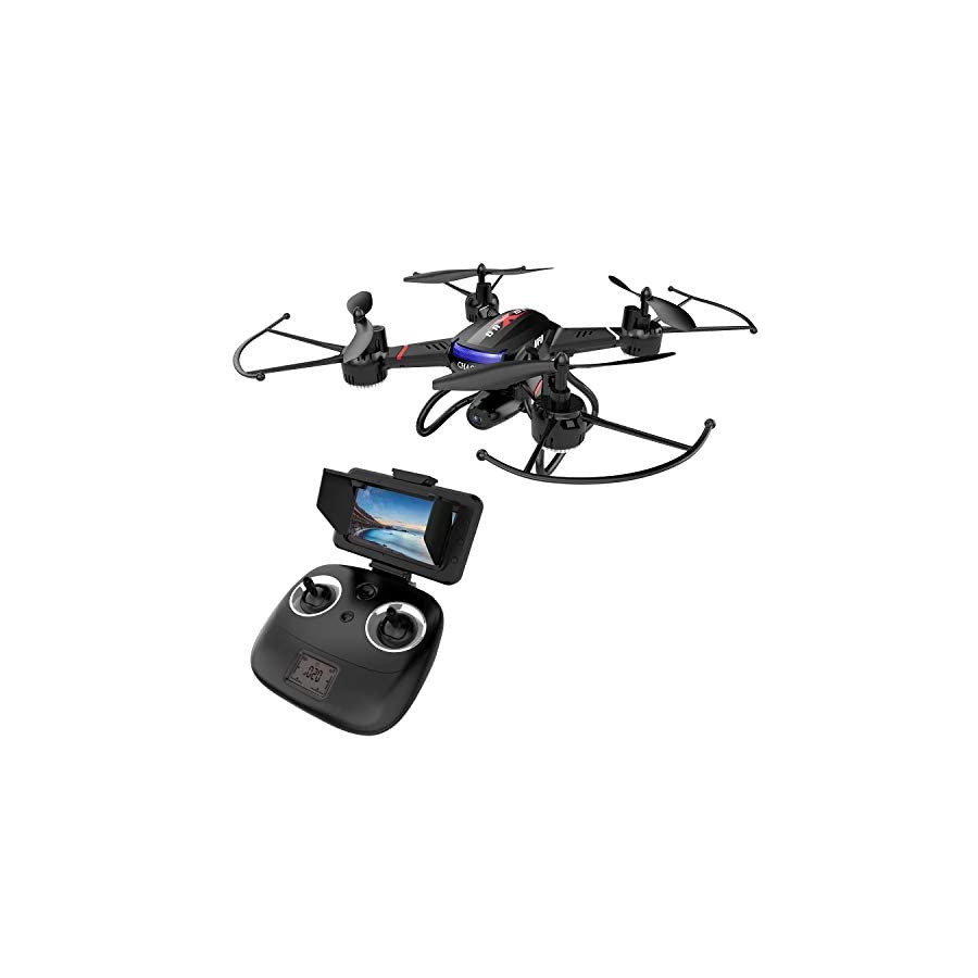 Holy Stone F181G Drone with Camera 5.8G FPV Live Video for Kids Beginners Adults Quadcopter with HD LCD Transmitter, RC Helicopter Airplane with Altitude Hold 3D Flip Headless Mode, Modular Battery 2