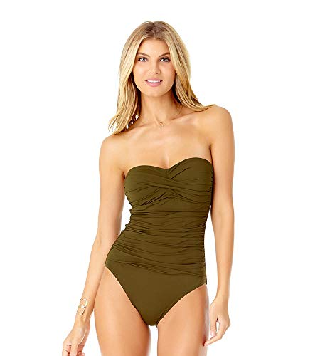 (Anne Cole Women's Twist Front Shirred One Piece Swimsuit, New Olive, 8)