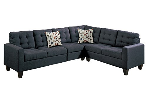 - Poundex F6937 Bobkona Burril Linen-Like 4 Piece Left or Right Hand Reversible Sectional Set, Black