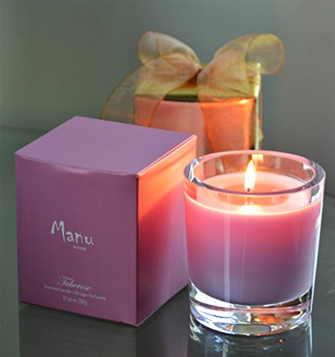 Manu Home Tuberose Scented Aromatherapy Candle ~ Infused with Tuberose to Enhance the Serene Floral Notes and Color ~ Beautiful Floral Scent ~ Made with Quality Aromatherapy Oils ~ 9.1 oz Made in USA. (Scented Tuberose Candle)