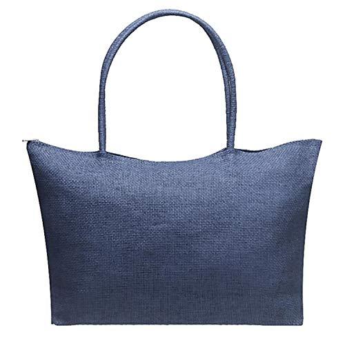 in Bags Pochette Sunonip Beach colore Marque Femme Light di puro Blue paglia Zipper RSSqUE6I