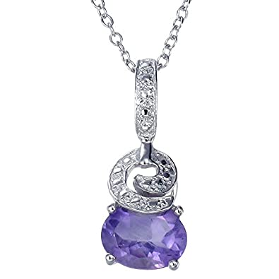 Sterling Silver Amethyst Pendant 1.20 CT With 18 Inch Chain