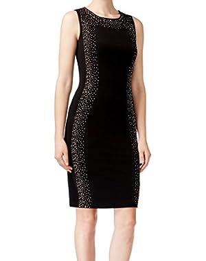 Calvin Klein Womens Rhinestone Stretch Sheath Dress Black 4