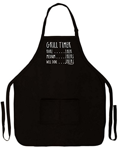 Funny Aprons for Men Grill Timer Beer Count Funny Grilling Apron Two Pocket Man Apron Black