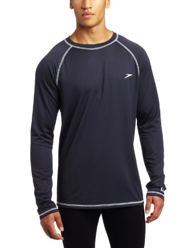 Speedo Men's UPF 50+ Easy Long Sleeve Rashguard Swim Tee, New Navy, Large