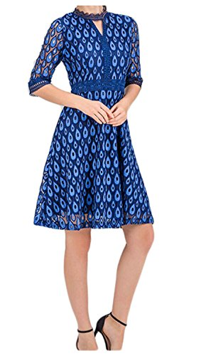 Temperament Blue O Sleeve Accept Womens Waist Dress Floral Half Jaycargogo Print Neck HCz6Pq