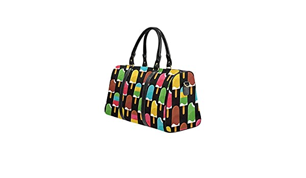 InterestPrint Summer Background With Colorful Ice Creams Weekender Bag Overnight Carry-on Tote Duffel Bag