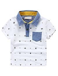 Boys Shirt MingAo Casual Polo Shirt Cotton Short Sleeve Clothes Tops 2-7 Years
