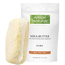 SHEA BUTTER-100% Natural Raw Unrefined (1 lb /16 0z) -by Amson Naturals-Use Alone or in DIY Skin Care Recipes,Body Butters,Lotions,Soap,Dry or Acne-Prone Skin,Eczema,Stretch Marks, Lip Balms and More