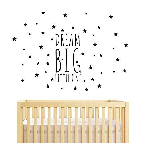 - JOYRESIDE Dream Big Little One Night Sleep Wall Decal Vinyl Sticker Stars Decor Nursery Kids Babys Room Home Bedroom Quote Decoration YMX14 (Black, Big)