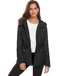 Rain Jacket Women Waterproof with Hood Lightweight Raincoat Outdoor Windbreaker