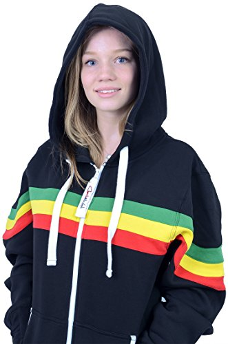 The Classic Unisex Onesie in Black with Green Yellow Red Stripes. Perfect adult onepiece jumpsuit FREE bag from Charlie McLeod