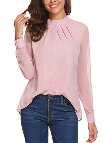 SoTeer Long Sleeve Chiffon Blouse Women's Loose Casual Cuffed Sleeve Layered Tops Pink Large (Pink Blush Clothing)