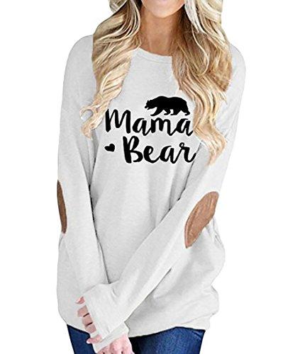 Fensajomon Womens Casual Short/Long Sleeve Crew Neck Mama Bear Letter Print Shirt Tops Blouse White S
