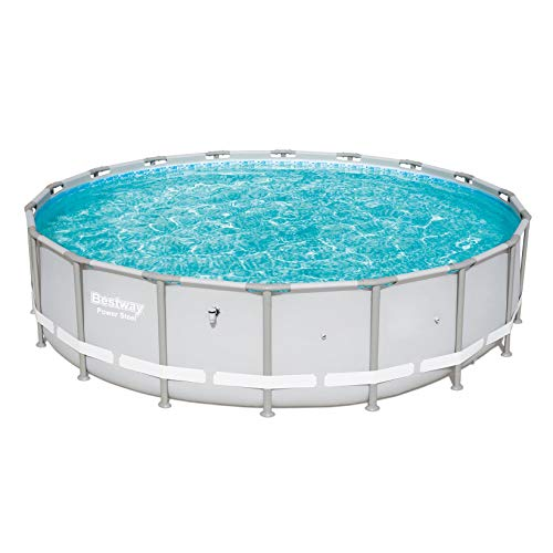 Bestway Power Steel 18 x 4 Foot Round Above Ground Swimming Pool Frame, Gray