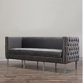 TOV Furniture The Bryn Collection Modern Style Velvet Upholstered Living Room Sofa, Grey