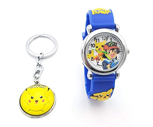 Pokemon Kids Watch Pikachu Watch and Matching Keychain, Silicone Wristwatch Gift Set for Kids, Boys or Girls (Blue Key)