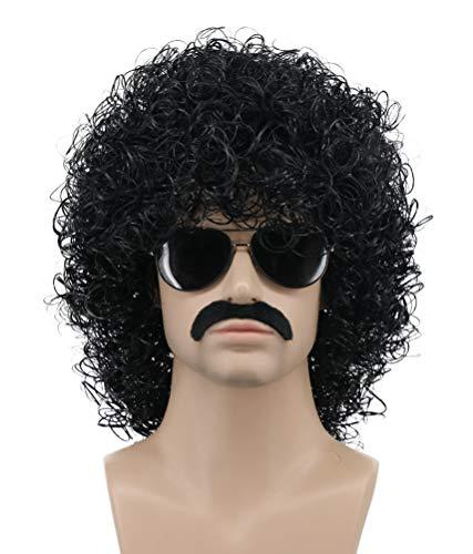 Halloween Hall And Oates (Karlery Mens Short Curly Black Rocker Mustache Beard Wig California Halloween Cosplay Wig Anime Costume Party Wig)