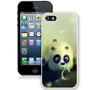 NEW Unique Custom Designed iPhone 5S Phone Case With Cute Panda Bubble_White Phone Case