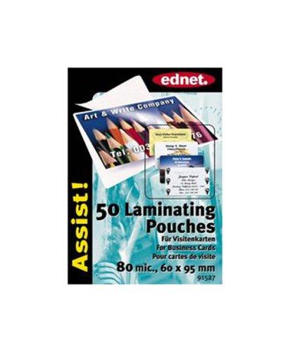 Ednet E91527 Confezione 50 Fogli per Biglietti da Visita (60x95mm), 80 Micron per Plastificatore a Caldo