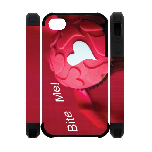 3D Bite Me Cupcake Best Custom Cell Phone Case Cover for iPhone 4, iPhone 4S