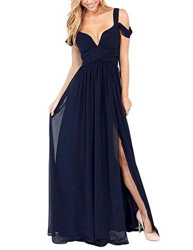 (Hodoyi Women's Sexy Off-Shoulder Straps Long Chiffon Split Beach Prom Party Dress-FBA(M,Blue))