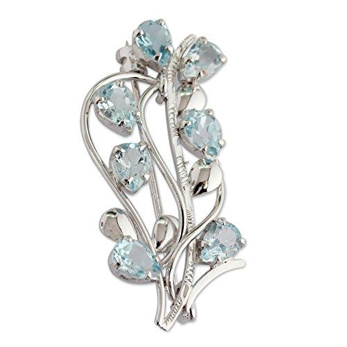 NOVICA Blue Topaz .925 Sterling Silver Floral Brooch