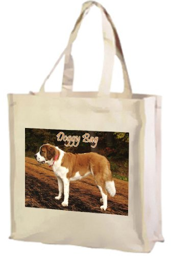 ST Bernard Dog cotone shopping bag, crema
