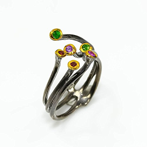 ONE OF A KIND NATURAL CHROME DIOPSIDE RING SIZE 10.5 US