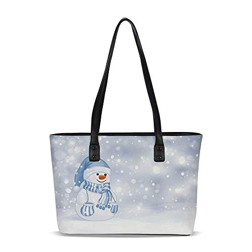 Winter PU Shoulder Tote Bag,Kids Toddler Design Happy Snowman Cartoon Style Fig
