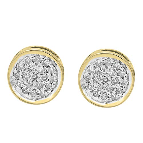 Dazzlingrock Collection 0.10 Carat (Ctw) 10K Round White Diamond Ladies Circle Cluster Stud Earrings 1/10 CT, Yellow Gold