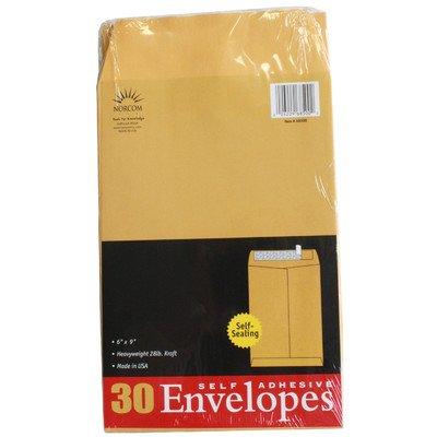 Norcom 68500-6 6'' X 9'' 28# Kraft Envelopes 30 Count