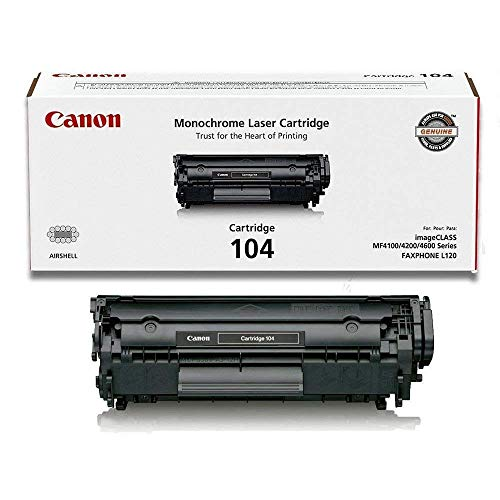 Canon, Cartridge 104 Black Original Toner Cartridge For Faxphone L90, Imageclass D420, D440, D460, D480, Mf4150, Mf4270, Mf4350, Mf4370, Mf4690