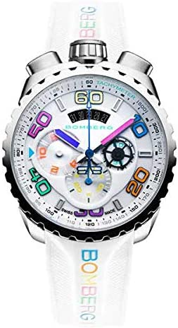 [ボンバーグ] メンズ 腕時計 クオーツ クロノグラフ 懐中時計 ポケットウォッチ ボルト68 クロマ 2 アイススティール BOLT-68 BS45CHSS.049-5.3 ラバーベルト ホワイト 白 マルチ