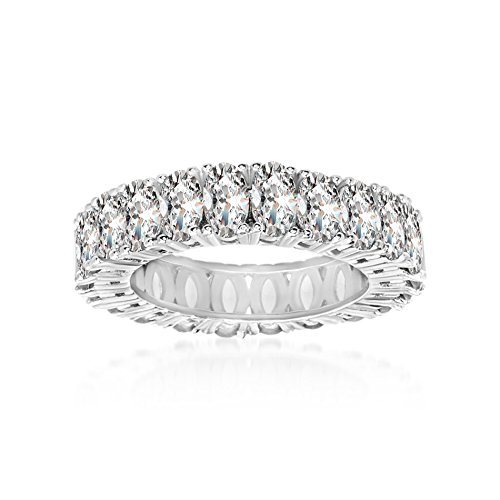Oval Gemstone Stackable Ring - Mia Sarine Womens Oval Cubic Zirconia Eternity Band Rhodium over Sterling Silver, Size 8