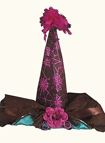 Izzy Adult Costumes (Teal and Black Satin with Purple Sparkling Spider Webs Witches Hat Adult Halloween)