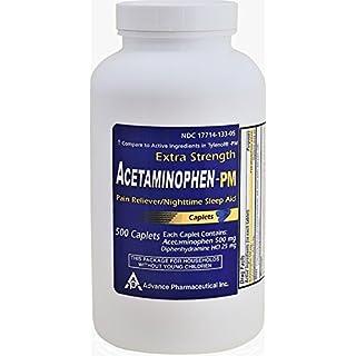 Acetaminophen PM 500 Caplets Generic for Tylenol PM Extra Strength Pain Reliever, Fever Reducer, Antihistamine & Nighttime Sleep Aid Acetaminophen 500 mg & Diphenhydramine 25 mg