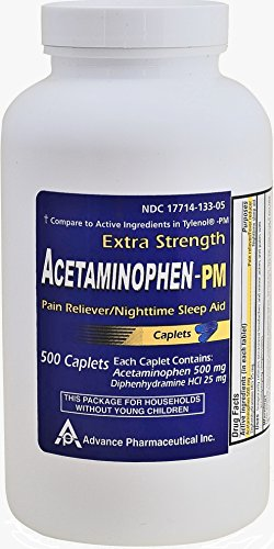 Acetaminophen PM 500 Caplets Generic for Tylenol PM Extra Strength Pain Reliever, Fever Reducer, Antihistamine & Nighttime Sleep Aid Acetaminophen 500 mg & Diphenhydramine 25 mg ()