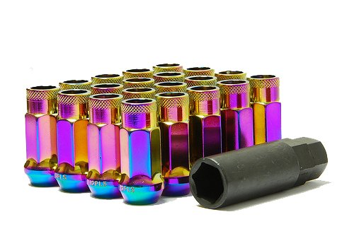 MUTEKI 32906N SR Series Neon Chrome 12mm x 1.5mm SR48 Open End Lug Nut Set, (Set of 20) by MUTEKI