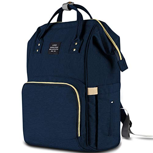 HaloVa Diaper Bag Multi-Function Waterproof Travel Backpack Nappy Bags for Baby Care, Large Capacity, Stylish and Durable Dark Blue (Pad Changing Denim)